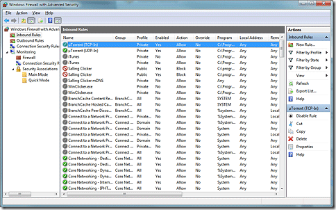 Screenshot of the Windows Firewall control panel