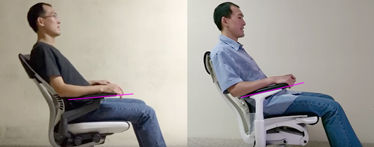 Two photos showing the reclined armrest angle on the Gesture and the Embody.