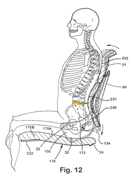 Line drawing of a human model seated on an ergonomic chair