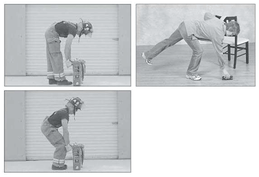 "Photos showing two correct lifting techniques: the squatting technique and the ""golfer's lift"""