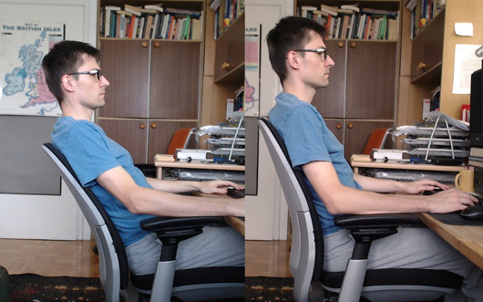 Steelcase Amia in the maximum recline position (left) and the upright lock position (right)