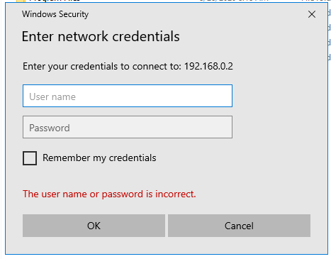 """""""The user name or password is incorrect"""" error message"""
